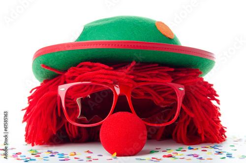 Fotobehang Carnaval Clownskopf und Konfetti