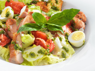 Tasty healthy Caesar salad with sweet basil and lettuce on a rou