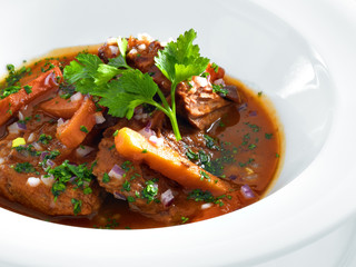 Rich hot hungarian beef goulash with traditional topping served