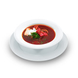 Delicious ukrainian borscht served on a white plate. Hot soup wi
