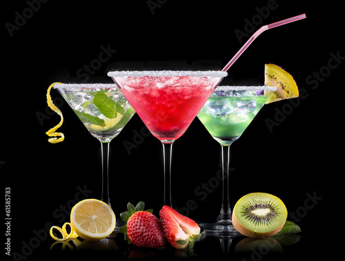 Fototapeta alcohol cocktail set on a black