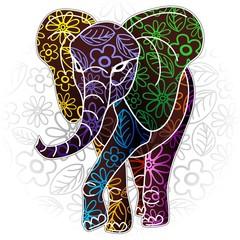 Elephant Floral Batik Art Design