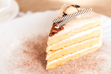 Slice of cake decorated with white chocolate sticks
