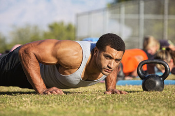 Handsome Man Doing Push-Ups