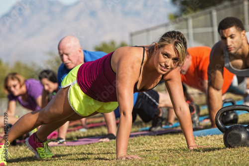 Enthusiastic Woman Doing Push-Ups
