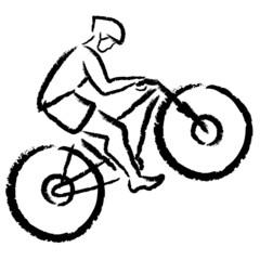 stylized cyclist on a mountain bike