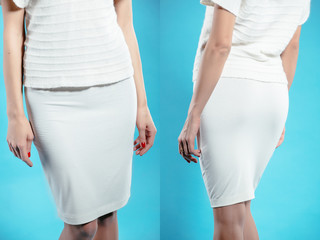 Woman in white skirt collage