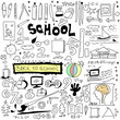 School Doodle texture isolated on white background