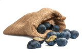 Blueberries in canvas bag