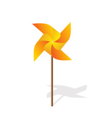 Yellow pinwheel 3d  vector