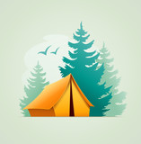 Tent in forest camping. Eps10 vector illustration. Isolated on