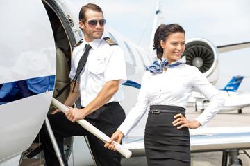 Airhostess With Pilot Boarding Private Jet
