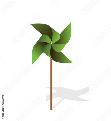Green pinwheel 3d  vector