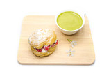 strawberry chou cream and green tea