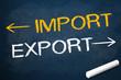 Kreidetafel mit Import und Export