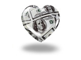 Heart with 100 dollar bills