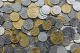 Closeup of different ukrainian coins as a background
