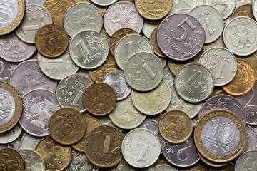 Closeup of different russian coins as a background