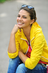Beautiful smiling girl portrait closeup