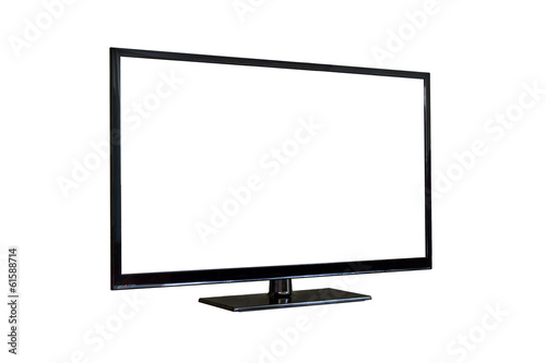 Side shot of plasma tv screen isolated on white - 61588714
