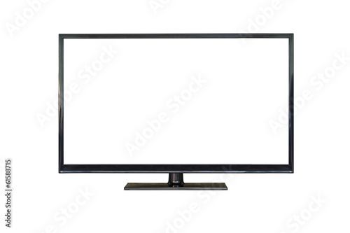 Front shot of plasma tv screen isolated on white - 61588715