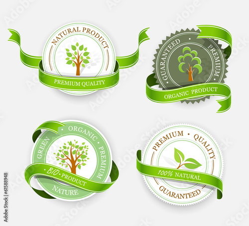 Collection of green stickers. Vector
