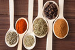 Spice assortment in wooden spoons