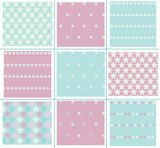 Vector stars seamless patterns, blurred, soft effect.