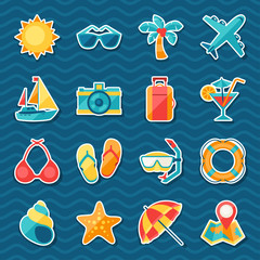 Travel and tourism sticker icon set.
