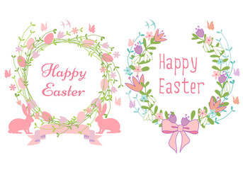 Happy Easter cards, floral wreath, vector set