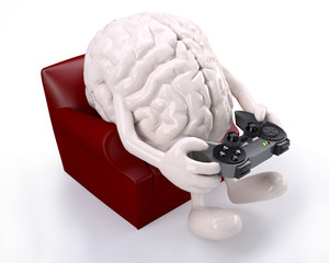 brain on armchair with arms, legs and game controller