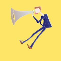 megaphone man shouting