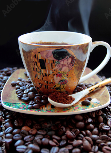 Aromatic hot coffee