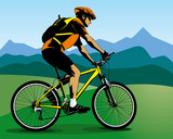 Iiiustration of summer landscape with cyclist on mountain bike poster