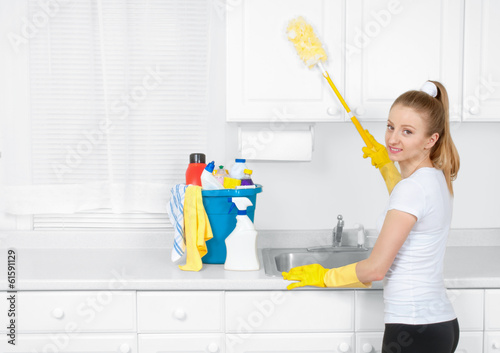 woman with cleaning stuff