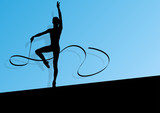 Active young girl calisthenics sport gymnast silhouette in acrob