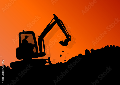 Excavator loader hydraulic machine tractor and workers digging a