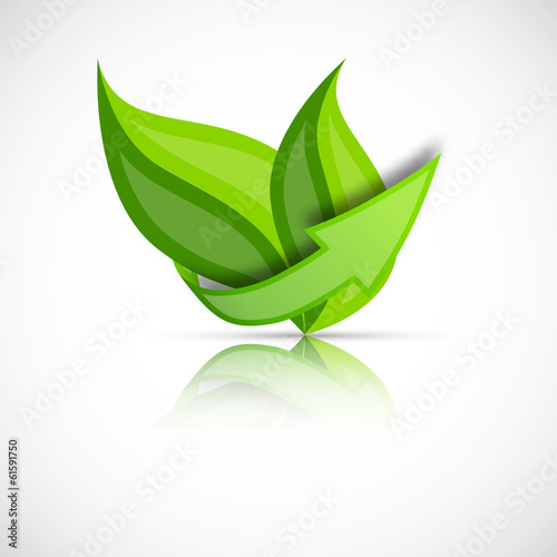 Green leaves with arrow