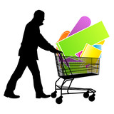 Shopping cart with speech bubbles sale concept vector background