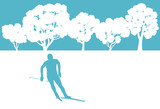 Skier in winter forest vector background abstract concept