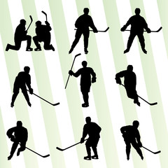 Ice hockey player silhouette sport abstract vector background