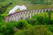 Leinwanddruck Bild - Detail of steam train on famous Glenfinnan viaduct, Scotland
