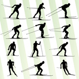 Active young man skiing set sport silhouette vector background