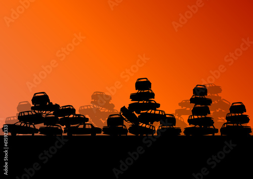 Old used automobile cars metal scrapyard graveyard landscape in