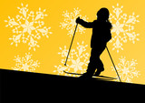 Active children skiing sport silhouettes in winter ice and snowf