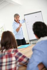 Teacher in business class doing marketing presentation