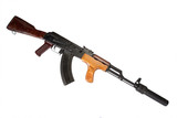 Kalashnikov with silencer isolated on white