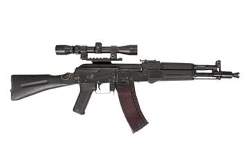 modern kalashnikov assault rifle on white