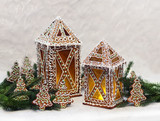 Gingerbread cottages with Christmas tree branches