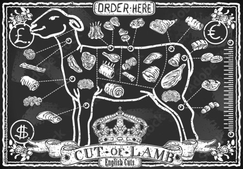 Cut of Lamb on Vintage Blackboard